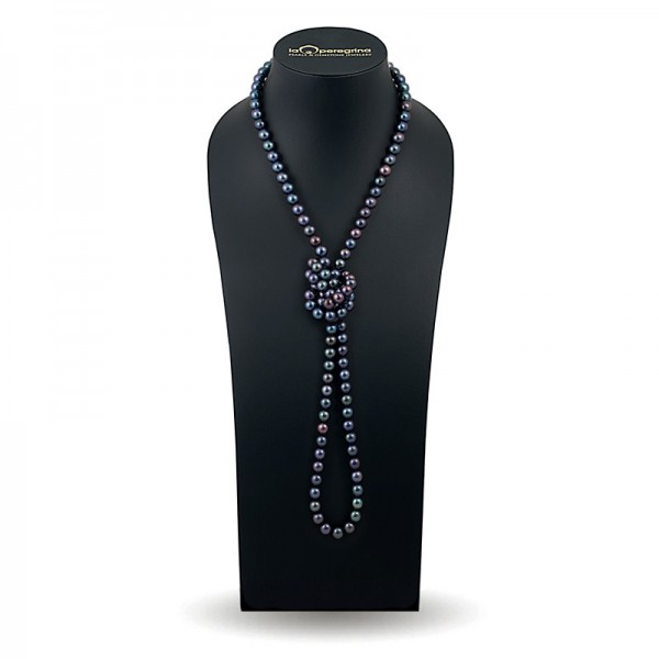 Beads 120 cm from black natural pearls AAA 9.0 - 9.5 mm