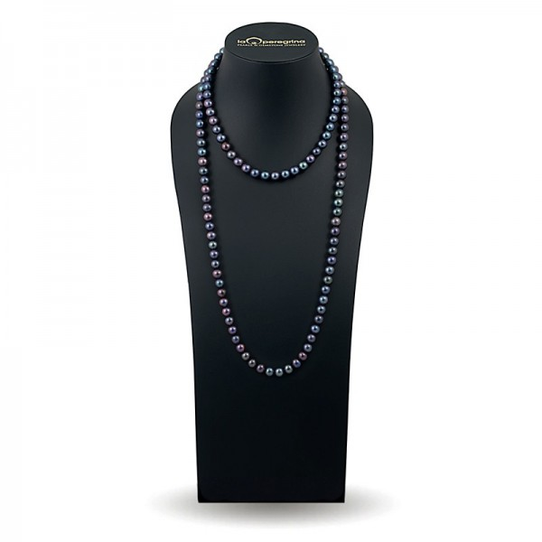 Beads 120 cm from black natural pearls AAA 7.0 - 7.5 mm