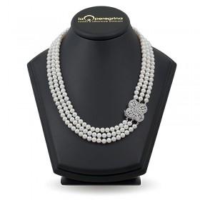 Ожерелье из натурального жемчуга ААА 6,0 - 6,5 мм с замком-подвеской из серебра 925 с фианитами