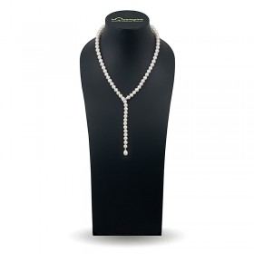 Necklace-tie made of natural pearls AAA 7.5 - 8.0 mm with a lock intercepted from 585 gold