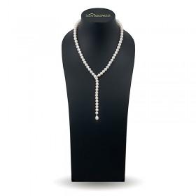 """Ожерелье-галстук из натурального жемчуга ААА 7,5 - 8,0 мм с замком """"перехватом"""" из золота 585 пробы"""