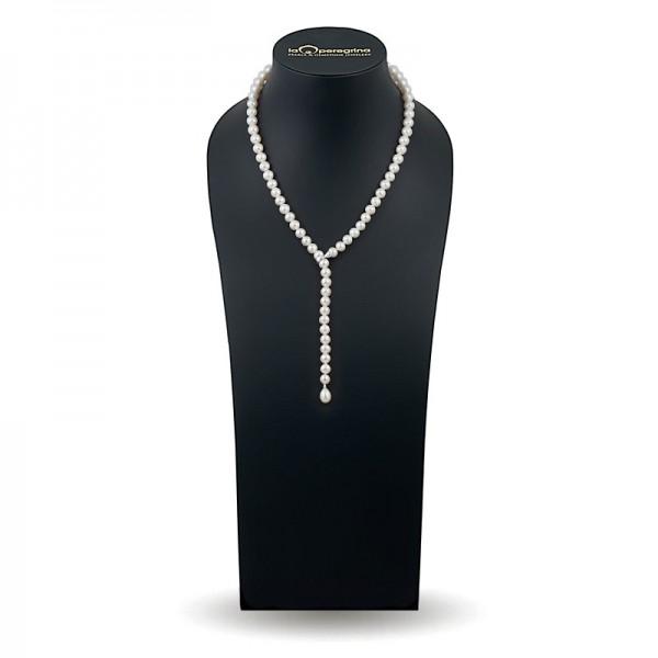 Ожерелье-галстук из натурального жемчуга ААА 7,5 - 8,0 мм с замком перехватом из золота 585 пробы