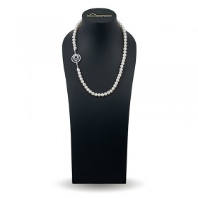 Ожерелье из натурального жемчуга ААА 8,0 - 8,5 мм с замком-подвеской из серебра 925 с фианитами
