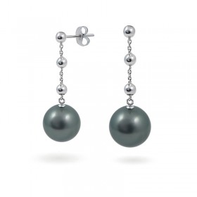 Earrings in White Gold 750 with Tahitian Pearls