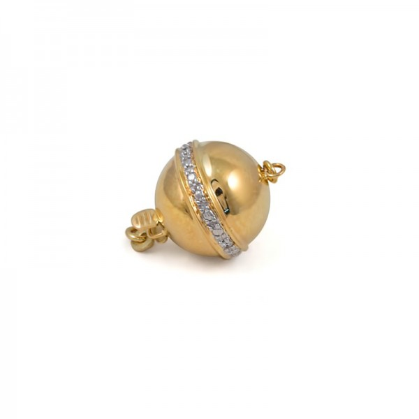 Lock for necklace from 14 karat gold with diamonds, 9 mm