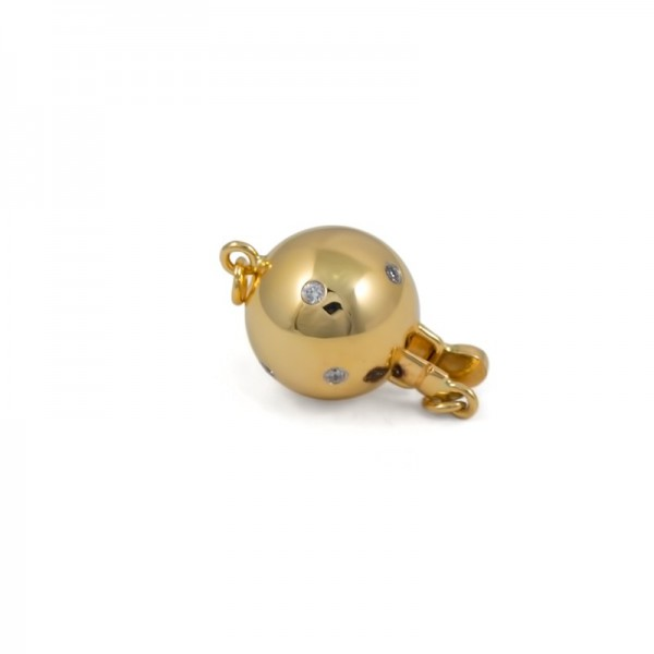 Lock for necklace from 14 karat gold with diamonds, 8 mm
