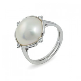 Кольцо из белого золота 585 пробы с морским жемчугом Мабе