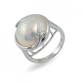 Кольцо из белого золота 585 пробы с морским жемчугом Мабе и бриллиантами