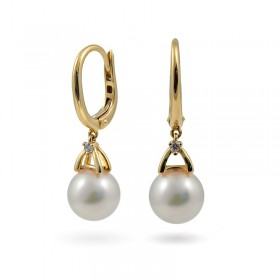 Earrings in Gold 750 with Akoya Sea Pearls and Diamonds
