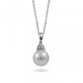 18K white gold pendant with natural sea pearls and diamonds