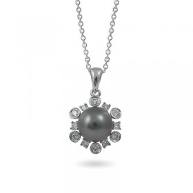 White gold pendant 750 with natural Tahiti sea pearls and diamonds