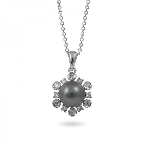 White gold pendant 750 with natural Tahiti sea pearls and diamonds