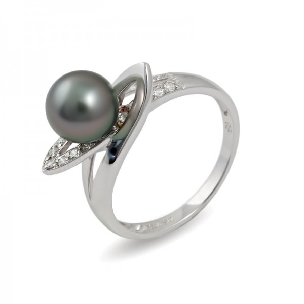 Кольцо из белого золота 750 пробы с морским жемчугом Таити и бриллиантами
