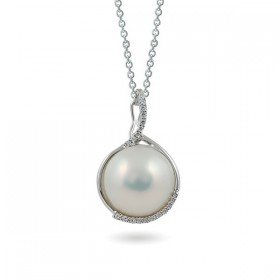14ct white gold pendant with Mabé pearls and diamonds