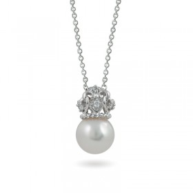 White gold pendant 585 with Akoya sea pearls and diamonds