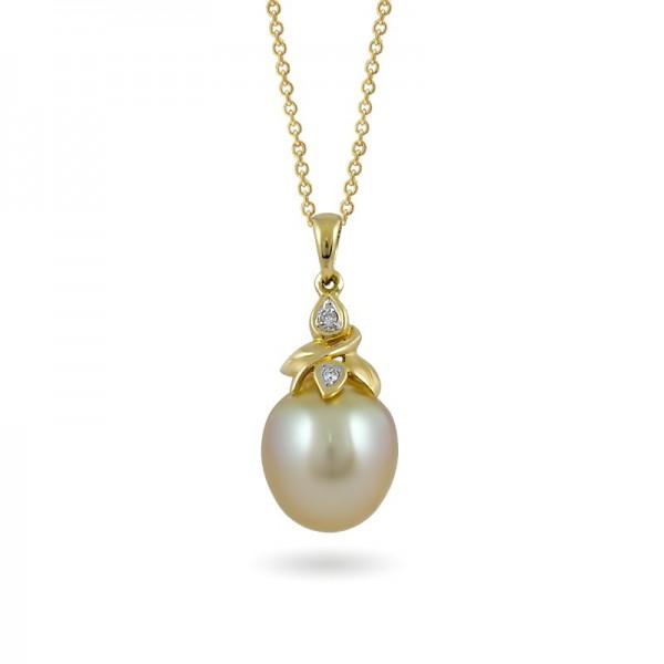 Подвеска из золота 585 пробы с морским жемчугом и бриллиантами