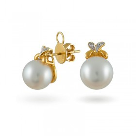 750 Gold Earrings with Sea Pearls and Diamonds