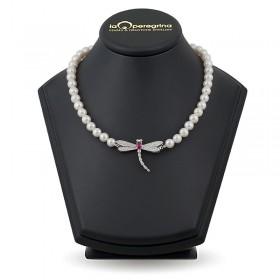 """Ожерелье из натурального жемчуга ААА 9,0 - 9,5 мм с замком """"Стрекоза"""" из серебра 925 с фианитами"""