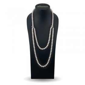 Beads 120 cm from natural pearls AAA 9.0 - 9.5 mm with interlocks made of 925 sterling silver