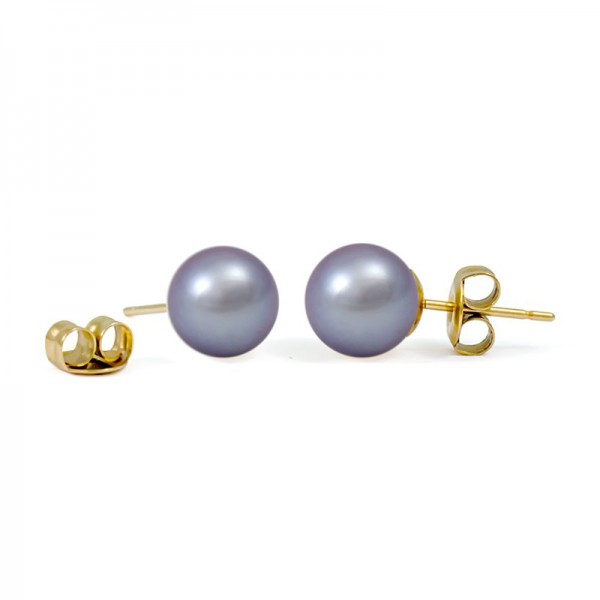 Stud earrings made of gold 375 with natural pearls