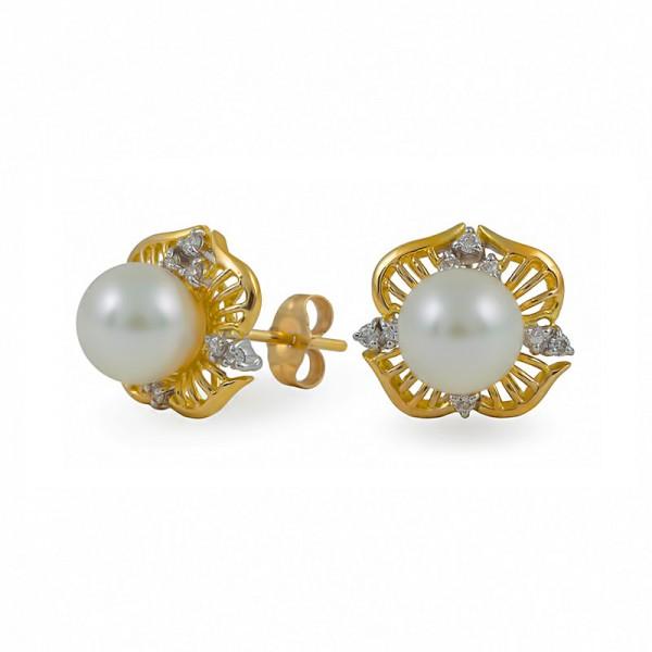Серьги из золота 585 с морским жемчугом Акойя и бриллиантами