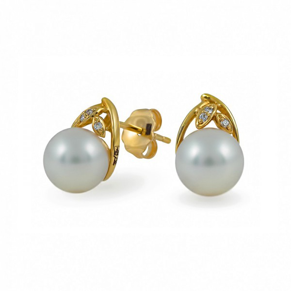 750 Gold Earrings with Akoya Sea Pearls and Diamonds