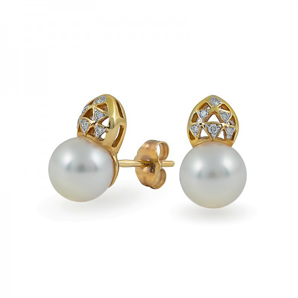 585 Gold Earrings with Akoya Sea Pearls and Diamonds