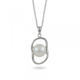 925 sterling silver pendant with natural pearls and cubic zirconias