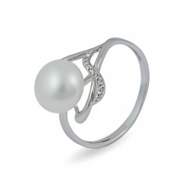 925 sterling silver ring with natural pearls and cubic zirconias