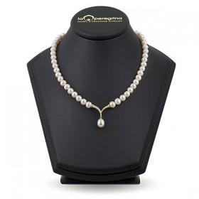 Ожерелье из натурального жемчуга ААА 7,5 - 8,0 мм с подвеской из серебра c позолотой 925