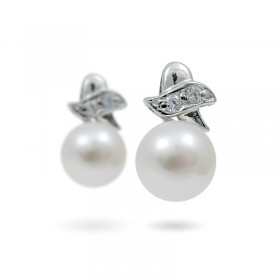 925 Sterling Silver Earrings with Natural Pearls and Zircons