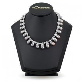 """Ожерелье из натурального пресноводного жемчуга """"барокко"""" ,  замок """"шар"""" серебро 925"""