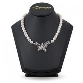 Ожерелье из натурального пресноводного жемчуга, 10,5 - 11,0 мм ,вставка из серебра с фианитами  925
