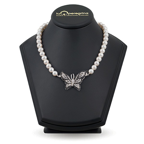Natural freshwater pearl necklace, 10.5 - 11.0 mm, silver inlay with cubic zirconia 925