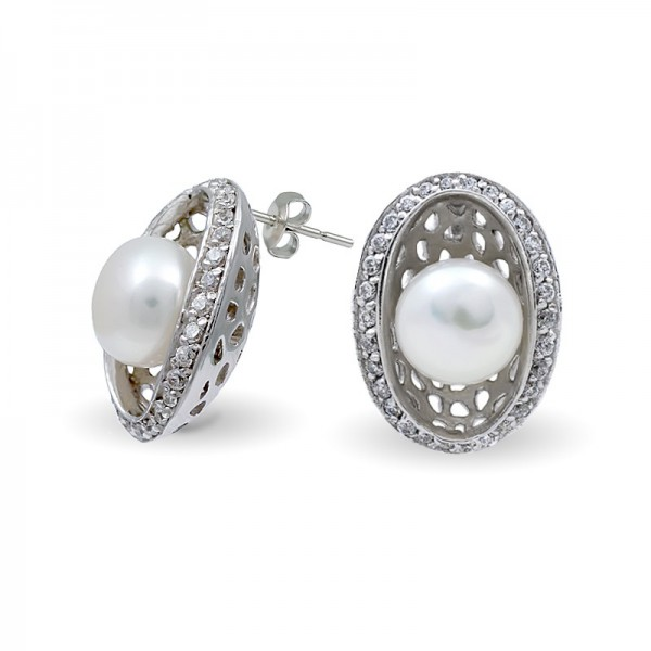 Sterling Silver Earrings with Freshwater Pearls and Zirconia