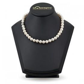 """Ожерелье из натурального жемчуга, 45 см, 9,0 - 10,0 мм, замок серебро """"шар с фианитами"""" 925"""