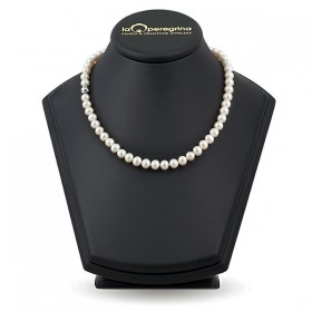 Natural pearl necklace, 45 cm, 7.5 - 8.0 mm, lock silver ball with cubic zirconia 925