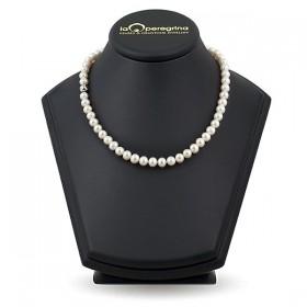 """Ожерелье из натурального жемчуга, 45 см, 7,5 - 8,0 мм, замок серебро """"шар с фианитами"""" 925"""
