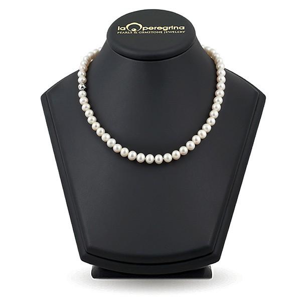 Ожерелье из натурального жемчуга, 45 см, 7,5 - 8,0 мм, замок серебро шар с фианитами 925