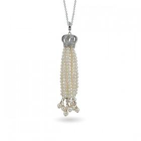 """Подвеска """"колокол"""" из серебра 925 пробы с натуральным жемчугом и фианитами"""
