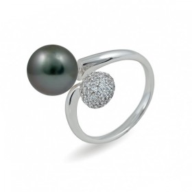 925 sterling silver ring with Tahiti sea pearls and cubic zirconias