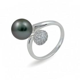 Кольцо из серебра 925 пробы с морским жемчугом Таити и фианитами