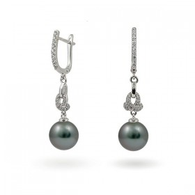 925 sterling silver earrings with natural Tahiti sea pearls and cubic zirconias