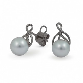 Earrings in black gold 750 with sea pearls