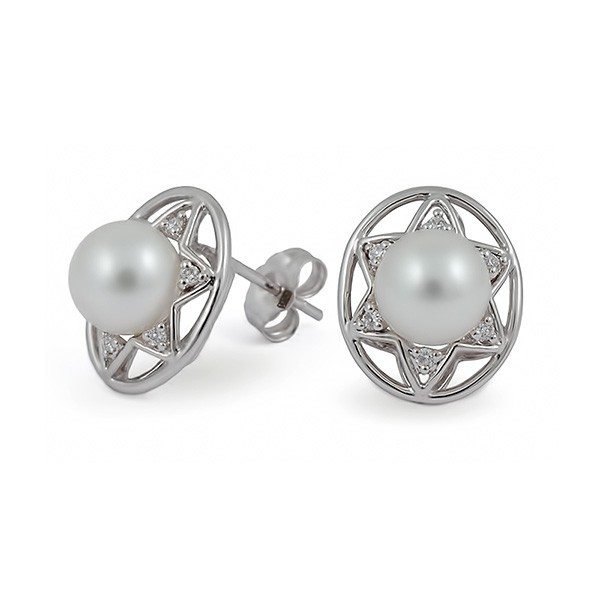 Earrings from 14 karat gold with freshwater pearls and diamonds