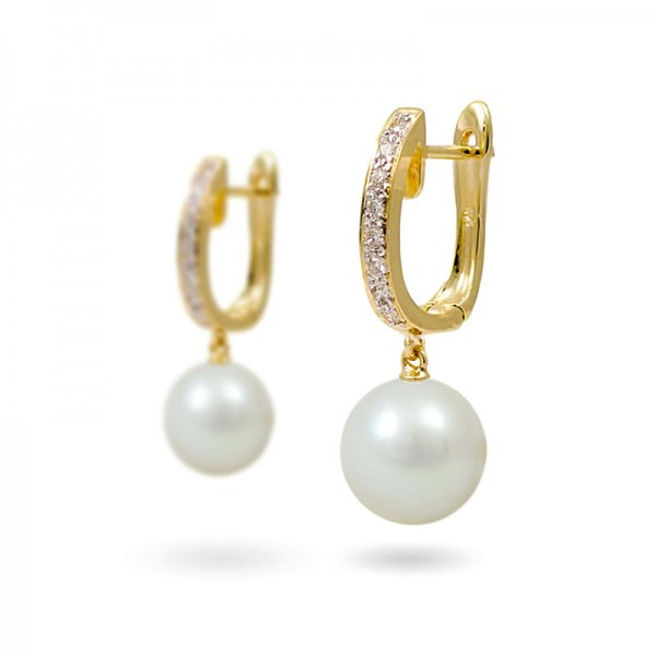 Earrings from 14 karat yellow gold with natural pearls and diamonds