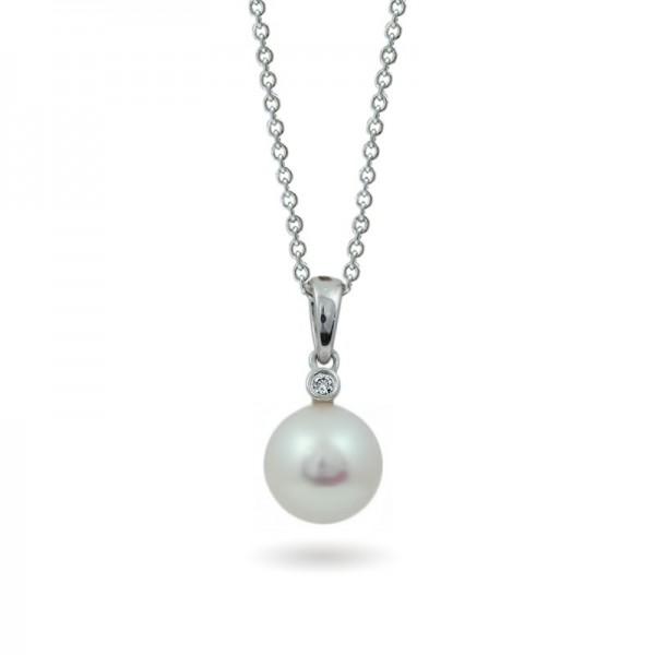 585 Gold Pendant with Akoya Sea Pearls and Diamonds