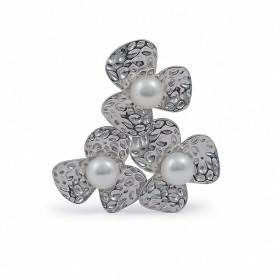 Брошь из серебра 925 пробы с натуральным жемчугом