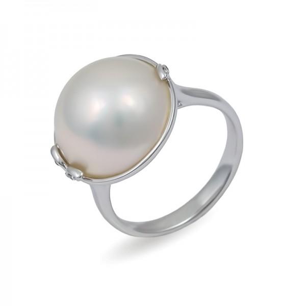 Кольцо из белого золота 750 пробы с морским жемчугом Мабе и бриллиантами