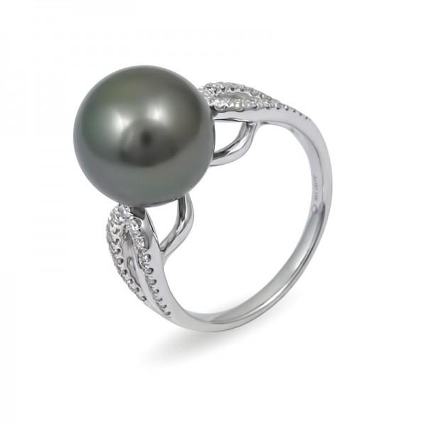 Кольцо из белого золота 585 пробы с морским жемчугом Таити